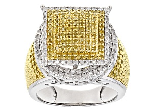 Yellow And White Diamond Rhodium Over Sterling Silver Ring .75ctw