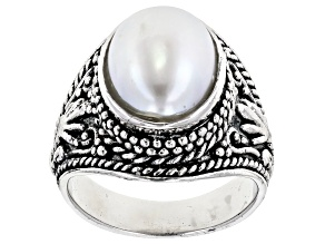 Pre-Owned 9x12mm White Cultured Freshwater Pearl, Rhodium Over Sterling Silver Ring