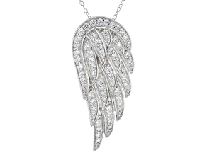 Pre-Owned 1.85ctw White Cubic Zirconia Sterling Silver Angel Wing Necklace