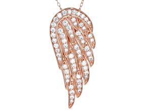 Pre-Owned 1.85ctw White Cubic Zirconia 18k Rose Gold Over Sterling Silver Angel Wing Necklace