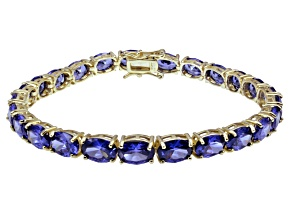 Pre-Owned Bella Luce ® 28.08ctw Tanzanite Simulant 18k Yellow Gold Over Sterling Silver Bracelet