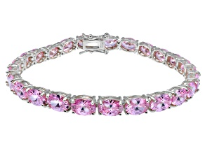 Pre-Owned Bella Luce ® 28.08ctw Pink Diamond Simulant Sterling Silver Bracelet 7.25