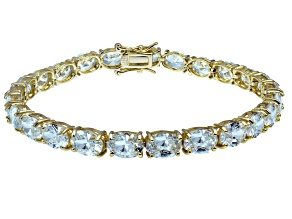Pre-Owned Bella Luce ® 28.8ctw White Diamond Simulant 18k Yellow Gold Over Sterling Silver Bracelet