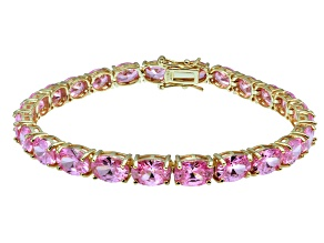 Pre-Owned Bella Luce ® 28.8ctw Pink Diamond Smulant 18k Yellow Gold Over Sterling Silver Bracelet