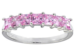 Pre-Owned Bella Luce® 2.10ctw Princess Cut Pink Diamond Simulant Sterling Silver Ring