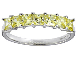 Pre-Owned Bella Luce® 2.10ctw Princess Cut Yellow Diamond Simulant Sterling Silver Ring