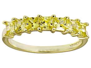Pre-Owned Bella Luce® Yellow Diamond Simulant 18k Gold Over Sterling Silver Ring