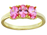 Pre-Owned Bella Luce® Pink Diamond Simulant 18k Gold Over Sterling Silver 3 Stone Ring