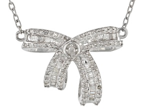 Pre-Owned White Diamond Rhodium Over Sterling Silver Necklace .45ctw