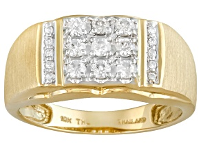 Pre-Owned White Zircon 10k Yellow Gold Gent's Ring .52ctw