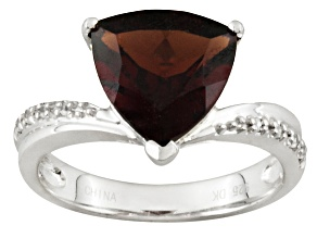 Pre-Owned TRILLION GARNET AND ROUND WHITE ZIRCON STERLING SILVER RING