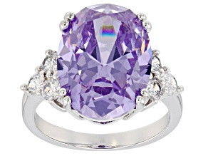 Pre-Owned Purple And White Cubic Zirconia Silver Ring 16.13ctw (9.98ctw DEW)