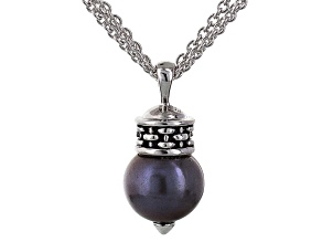 Pre-Owned Black Cultured Freshwater Pearl Rhodium Over Sterling Silver Pendant