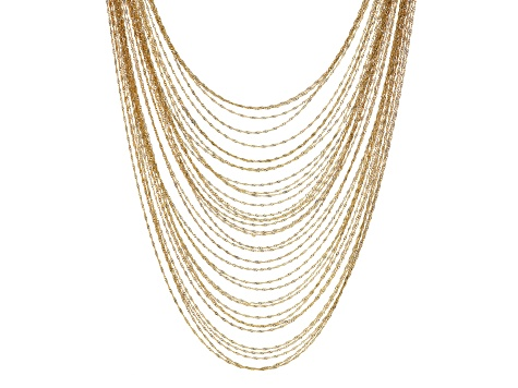 Pre-Owned Yellow Gold Tone 35-Row Snake Link Chain Necklace