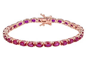 Pre-Owned Red lab created ruby 18k rose gold over silver bracelet 14.33ctw