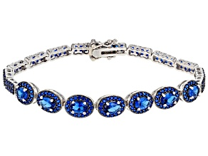 Pre-Owned Lab Created Blue Spinel sterling silver Bracelet 7.26ctw