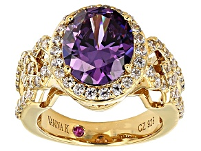 Pre-Owned Purple And White Cubic Zirconia 18k Yellow Gold Over Sterling Silver Ring 7.22ctw