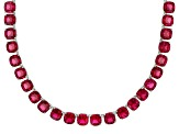 Pre-Owned Red lab created ruby rhodium over sterling silver tennis necklace 61.71ctw