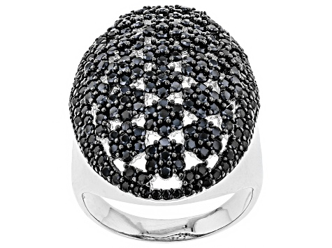 Pre-Owned Black spinel rhodium over silver ring 3.06ctw