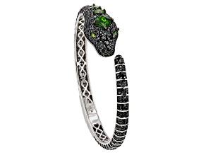 Pre-Owned Black Spinel Rhodium Over Silver Snake Bracelet 9.17ctw