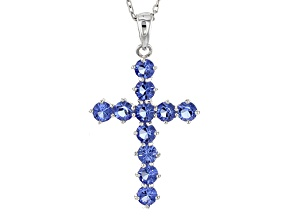 Pre-Owned Blue Cubic Zirconia Rhodium Over Sterling Silver Cross Pendant With Chain 1.47ctw