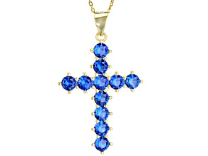 Pre-Owned Blue Cubic Zirconia 18K Yellow Gold Over Silver Cross Pendant With Chain 1.47ctw