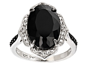 Pre-Owned Black Spinel Sterling Silver Ring 5.51ctw