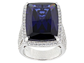 Pre-Owned Blue And White Cubic Zirconia Silver Ring 37.48ctw