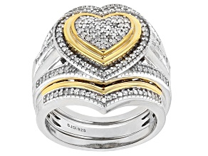 Pre-Owned White Diamond 14k Yellow Gold And Rhodium Over Sterling Silver Ring With Two Matching Band