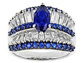 Pre-Owned Blue Synthetic Spinel And White Cz Black And White Rhodium Over Sterling Ring 4.28ctw