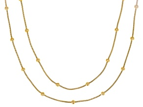 Pre-Owned 18K Yellow Gold Over Silver 1MM Snake Chain With Station Bead Necklace Set 18 Inch & 20 In