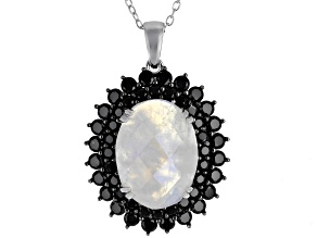 Pre-Owned Moonstone Rhodium Over Sterling Silver Pendant With Chain 2.50ctw