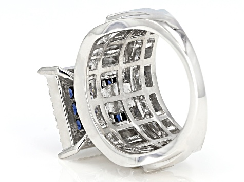 Pre-Owned Blue & White Cubic Zirconia Rhodium Over Sterling Silver Cluster Ring 5.90ctw