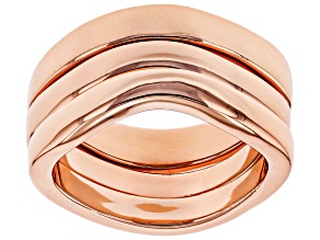 Pre-Owned Copper Wavy Band 3-Ring Set