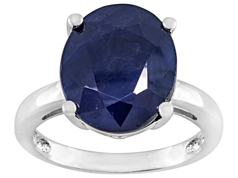 Pre-Owned Blue Sapphire Sterling Silver Solitaire Ring 4.50ct