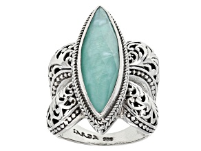 Pre-Owned Blue Mexican Turquoise Triplet Silver Ring
