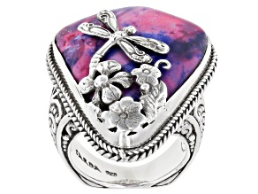 Pre-Owned Multicolor Tye Dye Calcite Silver Dragonfly Ring
