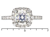 Pre-Owned White Fabulite Strontium Titanate and White Zircon rhodium over Silver Ring 3.92ctw
