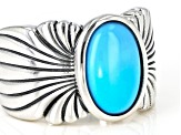 Pre-Owned Sleeping Beauty Turquoise  Rhodium Over Sterling Silver Ring