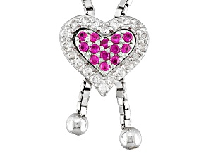 Pre-Owned Lab Created Ruby And White Cubic Zirconia Silver Sliding Adjustable Heart Necklace .48ctw