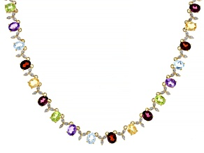 Pre-Owned Multi-gemstone 18k gold over silver necklace 16.14ctw