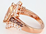 Pre-Owned Champagne, Brown, And White Cubic Zirconia 18K Rose Gold Over Sterling Silver Ring 7.85CTW