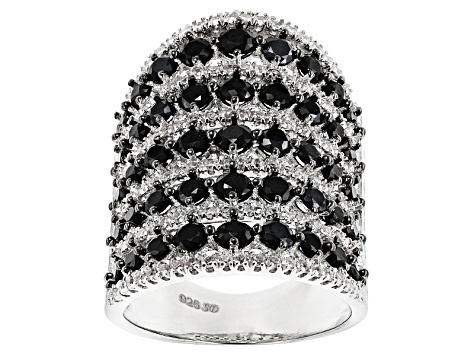 Pre-Owned Black Spinel Rhodium Over Silver Ring 4.81ctw