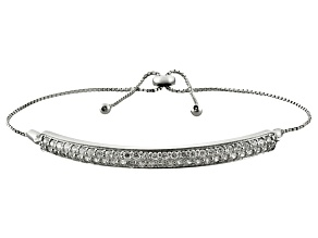 Pre-Owned Cubic zirconia silver adjustable bracelet 2.48ctw (1.37ctw DEW)