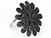 Pre-Owned Black Spinel Rhodium Over Sterling Silver Flower Ring 4.22ctw