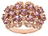 Pre-Owned Pink Masasi Bordeaux Garnet™18k Rose Gold Over Sterling Silver Ring 3.68ctw