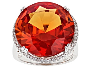 Pre-Owned Orange Lab Created Padparadscha Sapphire Rhodium Over Silver Ring 25.40ctw