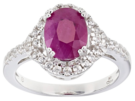 Pre-Owned Red Burmese Ruby Rhodium Over Sterling Silver Ring 3.30ctw