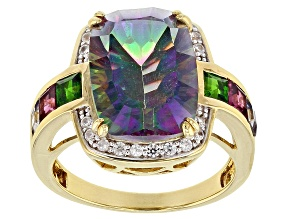 Pre-Owned Multi-Color Quartz 18k  Yellow Gold Over Silver Ring 6.60ctw
