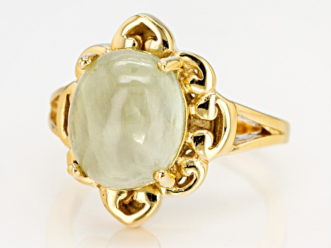 Pre-Owned Green prehnite 18k gold over silver ring